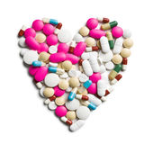 Heart of colorful pills Stock Image