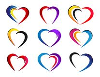 Heart colorful valentine icon set on white background. In ai10 additional stock illustration