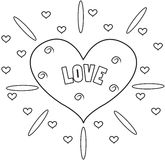 Heart coloring page Stock Images