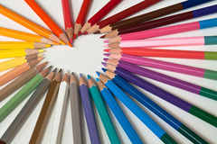 Heart of coloring pencils Royalty Free Stock Photo