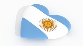 Heart in the colors of Argentina flag, 3d rendering. Heart in the colors of Argentina flag, on a white background, 3d rendering Royalty Free Stock Photography