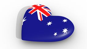 Heart in the colors of Australia flag, on a white background, 3d rendering side. Heart in the colors of Australia flag, on a white background, 3d rendering side Royalty Free Stock Photography