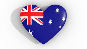 Heart in the colors of Australia flag, on a white background, 3d rendering top. Heart in the colors of Australia flag, on a white background, 3d rendering top Stock Photos
