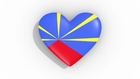 Heart in colors flag of Reunion pulses, loop vector illustration