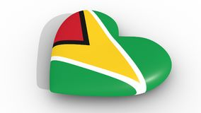 Heart in the colors of Guyana flag, on a white background, 3d rendering top. Stock Photos