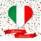 Heart in colors of italian flag with confetti. Greeting card, poster for National Day of Italy celebrated on 2 June. Royalty Free Stock Photos