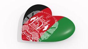 Heart in colors and symbols of Afghanistan. On white background stock illustration