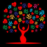 Heart Colourful Shows Valentine Day And Affection Stock Image