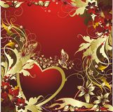 Heart in colours. Heart with butterflies and a vegetative ornament Royalty Free Stock Photos
