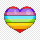 Heart in colours of LGBT icon, cartoon style. Heart in colours of LGBT icon in cartoon style isolated on background for any web design royalty free illustration