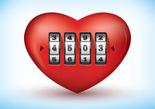 Heart with a combination lock Royalty Free Stock Images