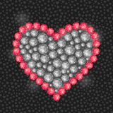 Heart Composed of Diamond Gem Stones Stock Images