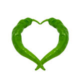 Heart composed of green peppers Stock Photography