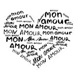 Heart composed of inscriptions in French `mon amour` in the style of craft. Hand painted. Vector image isolated on white vector illustration