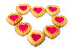 The heart is composed of a pastry. On a white background Royalty Free Stock Photos