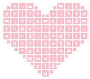Heart composed of Valentine icons Stock Photography