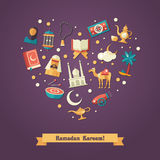 Heart composition with islamic culture icons Stock Photo