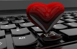Heart on computer keyboard Stock Photo