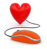 Heart with Computer Mouse (clipping path included) Royalty Free Stock Image