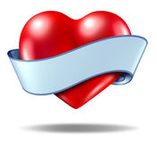 Heart concept and love icon with a blank ribbon Royalty Free Stock Images