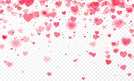 Free Heart Confetti Falling On Transparent Background. Valentines Day Card Template. Vector Illustration Royalty Free Stock Image - 107469516
