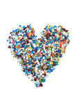 Heart of confetti isolated Stock Photo