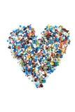 Heart of confetti isolated Stock Photo