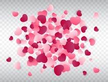 Heart confetti splash. Love background. Pink confetti texture. Vector illustration Stock Photography