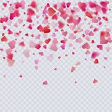 Heart confetti on transparent background, decoration for your valentine s day greeting cards. Vector eps 10 Royalty Free Stock Photo