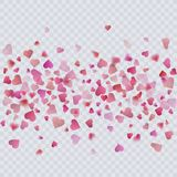 Heart confetti on transparent background, decoration for your valentine s day greeting cards. Vector eps 10 Royalty Free Stock Photos