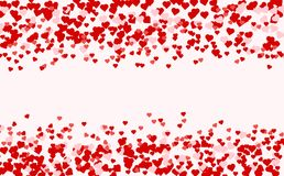 Heart confetti of Valentines petals falling on pink background. vector illustration