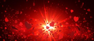 Heart confetti of Valentines petals falling on red background. Flower petal in shape of heart confetti for Women`s Day.  Stock Photos