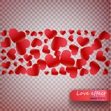 Heart confetti of Valentines petals falling on transparent background. Valentines Day background of red hearts petals falling. Dec. Or element for greeting cards stock illustration