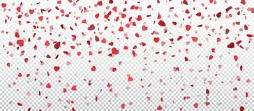 Heart confetti of Valentines petals falling on transparent background. Flower petal in shape of heart confetti for Women`s Day.  vector illustration