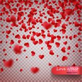 Heart confetti of Valentines petals falling on transparent background. Valentines Day background of red hearts petals falling. Dec. Or element for greeting cards royalty free illustration