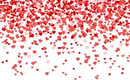 Heart confetti of Valentines petals falling on white background. stock illustration