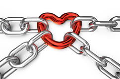 Heart connected chains. Heart connected chain isolated on white background royalty free illustration