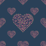 Heart with connected lines and dots. Wireframe mesh polygonal element. Valentine Royalty Free Stock Photography