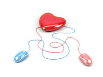 Heart connected to a two computer mouse. Royalty Free Stock Images