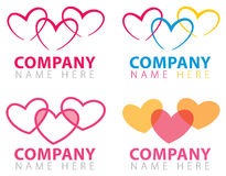 Heart Connection Logo. A series of connecitng heart logo icons Royalty Free Stock Image