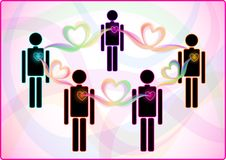Heart connection between people Royalty Free Stock Image