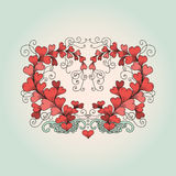 Heart consists of hearts in zentangle style. Vector hand drawn ornate floral pattern heart consists of hearts in zen tangle style on blue background. Valentines Royalty Free Stock Photography