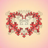 Heart consists of hearts in zentangle style. Vector hand drawn ornate floral pattern heart consists of hearts in zen tangle style on pink and yellow background Stock Photos
