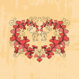 Heart consists of hearts in zentangle style. Vector hand drawn ornate floral pattern heart consists of hearts in zen tangle style on texture background Royalty Free Stock Image