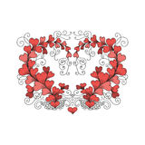 Heart consists of hearts in zentangle style. Vector hand drawn ornate floral pattern heart consists of hearts in zen tangle style on white background. Valentines Royalty Free Stock Photo