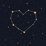 Heart constellation on starry sky Royalty Free Stock Images