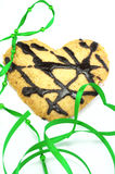 Heart cookie. With green tapes Royalty Free Stock Photography