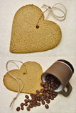 Heart cookie and coffee beans Stock Photos