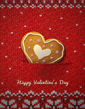Heart cookie on knitted background Royalty Free Stock Image
