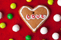 Heart cookie with sweets Royalty Free Stock Photo